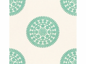 KRAVET COUTURE HITS THE SPOT EMBROIDERY LINEN FABRIC TURQUOISE