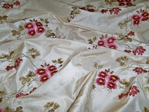 KRAVET COUTURE LEE JOFA MEIDILAND EMBROIDERED FLORAL MOIRE SILK DAMASK FABRIC 8 YARDS CREAM ROSE BURGUNDY