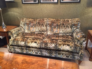 KRAVET COUTURE LEE JOFA ORNATE VELVET FABRIC OLIVE MULTI