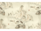 KRAVET COUTURE CHINOISERIE MARCO POLO TOILE LINEN FABRIC MIST
