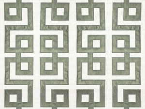 KRAVET COUTURE MODERN APPLIQUE EMBROIDERY GEOMETRIC LATTICE SCROLLWORK LINEN FABRIC QUARRY