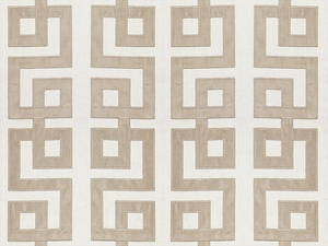 KRAVET COUTURE MODERN APPLIQUE EMBROIDERY GEOMETRIC LATTICE SCROLLWORK LINEN FABRIC STONE
