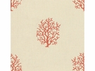 KRAVET COUTURE NEWPORT STYLE EMBROIDERY LINEN FABRIC CORAL