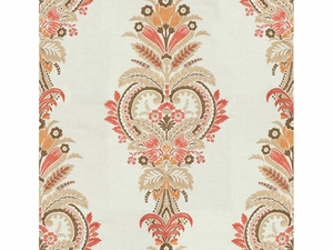 KRAVET COUTURE PARADISE FOUND EMBROIDERY LINEN FABRIC CORAL