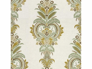KRAVET COUTURE PARADISE FOUND EMBROIDERY LINEN FABRIC MINERAL