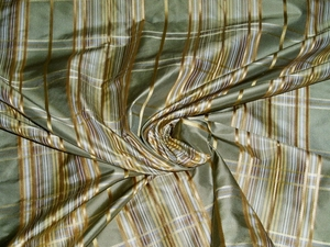 KRAVET COUTURE SATIN CORD PLAID CHECK SILK TAFFETA FABRIC 10 YARDS GREEN GOLD