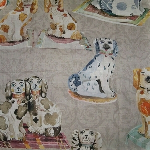 KRAVET COUTURE SPANIEL DOGS LINEN FABRIC TAUPE MULTI