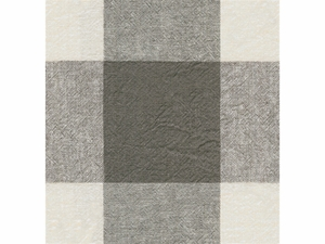 KRAVET ECHO CHECK COTTON/LINEN FABRIC BLACK WHITE GREY
