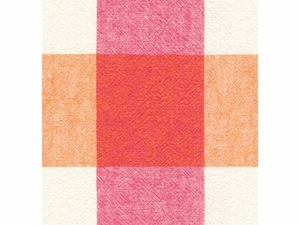 KRAVET ECHO CHECK COTTON/LINEN FABRIC WHITE ORANGE PINK