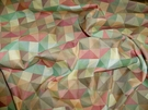 KRAVET GEOMETRIC JACQUARD FABRIC 3.5 YARDS ORANGE GREEN