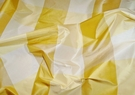 KRAVET GP J BAKER AUDREY SILK CHECK TAFFETA FABRIC YELLOW GOLD CREAMISH IVORY