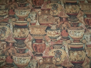 KRAVET KNOSSOS ANCIENT EGYPTIAN GREEK VASES HIEROGLYPHICS FABRIC 14 YARDS MULTI
