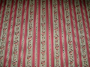 KRAVET LAURA ASHLEY FRENCH COUNTRY CHIMNEY ROCK FLORAL STRIPE PRINT FABRIC 28 YARD POPPY