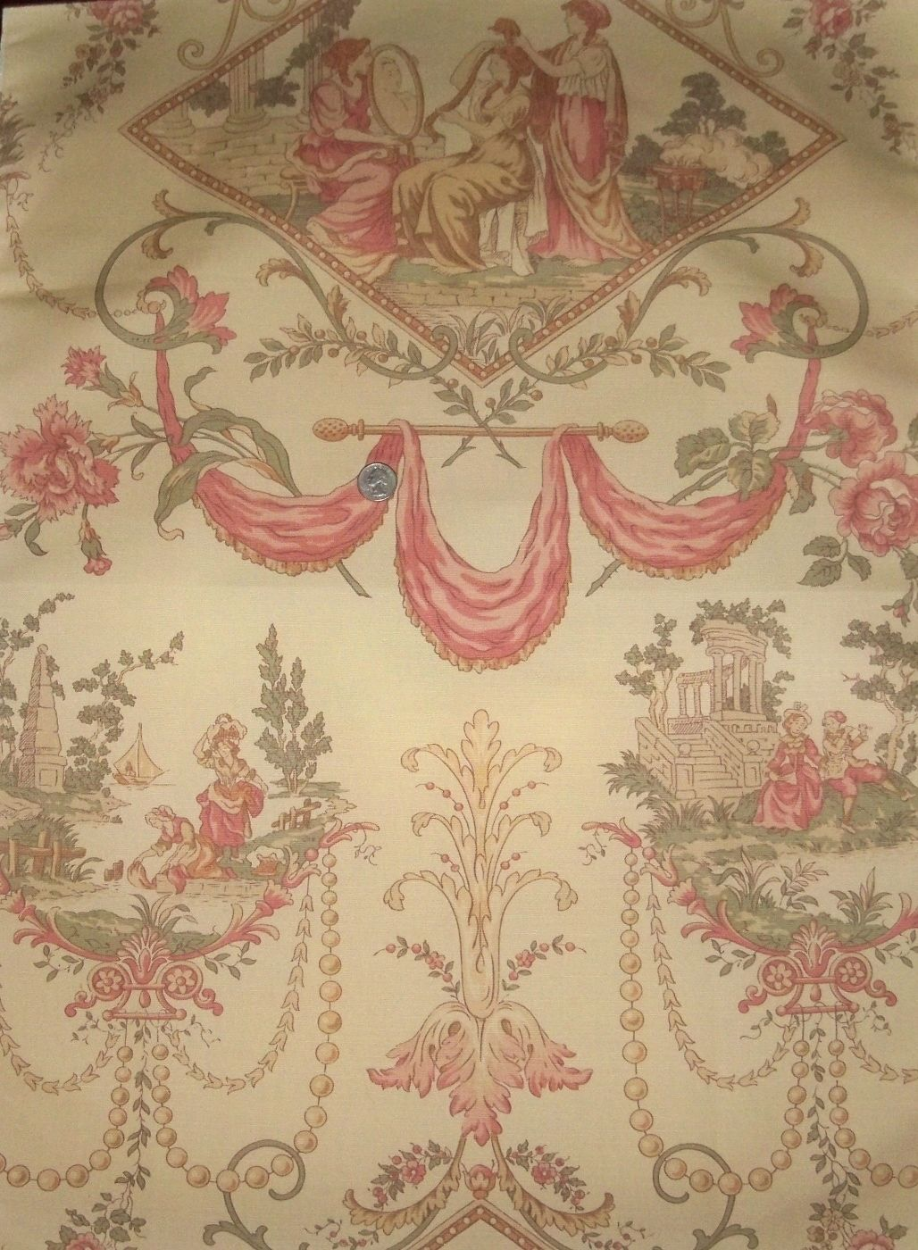 Kravet lee jofa la coiffure french toile fabric rose beige for French toile fabric