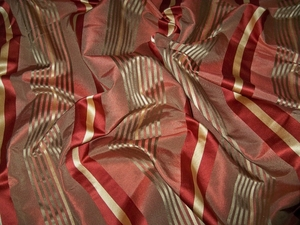 KRAVET LEE JOFA SEDONA SILK SATIN STRIPES FABRIC 10 YARDS CINNAMON CLAY GOLD