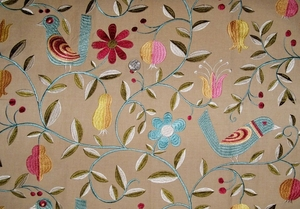 KRAVET LEE JOFA WHIMSICAL FOLK ART BIRDS EMBROIDERED FABRIC BEIGE MULTI