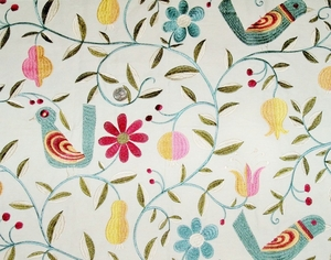 KRAVET LEE JOFA WHIMSICAL FOLK ART BIRDS EMBROIDERED FABRIC MULTI