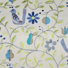 KRAVET LEE JOFA WHIMSICAL FOLK ART BIRDS EMBROIDERED FABRIC MULTI GRAY