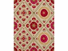 LEE JOFA AYLA TRELLIS EMBROIDERED LINEN  FABRIC FUCHSIA/RED