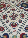 LEE JOFA AYLA TRELLIS EMBROIDERED LINEN  FABRIC INDIGO/RED