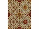 LEE JOFA AYLA TRELLIS EMBROIDERED LINEN FABRIC OCHRE/CLAY