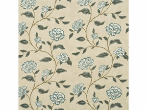 LEE JOFA BERRINGTON FLORAL COTTON PRINT FABRIC AQUA CREAM