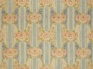 LEE JOFA ELOISE LINEN PRINT FABRIC BLUE ORANGE