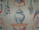 LEE JOFA KRAVET FRENCH TOILE BIRDS ROSES LINEN FABRIC CREAM