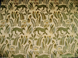 LEE JOFA G P & J BAKER PUMA PANTHER CUT VELVET UPHOLSTERY FABRIC 7 YARDS GOLD