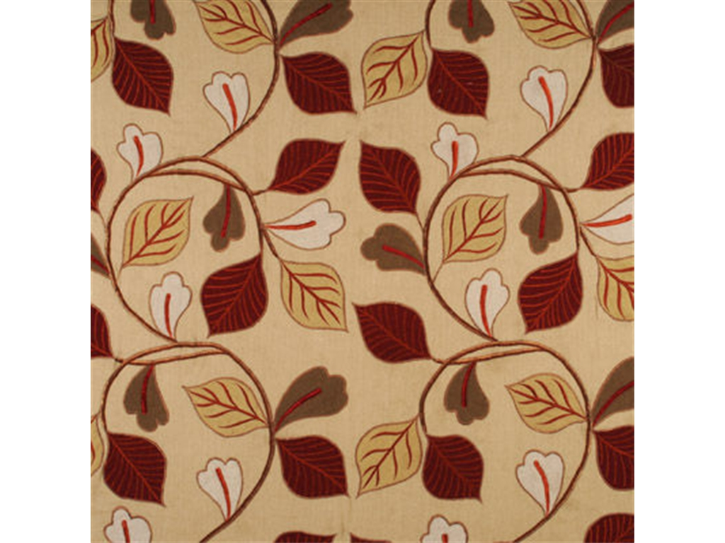 Lee jofa garrick leaf embroidered linen fabric red green gold