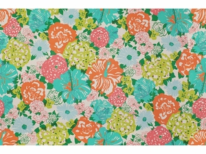 LEE JOFA HERITAGE FLORAL COTTON FABRIC AQUA ORANGE