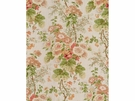 LEE JOFA HOLLYHOCK BLOCK PRINTED LINEN FABRIC CORAL APPLE