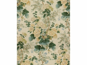 LEE JOFA HOLLYHOCK BLOCK PRINTED LINEN FABRIC LEMON AQUA