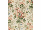 LEE JOFA HOLLYHOCK BLOCK PRINTED LINEN FABRIC MULTI
