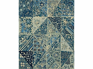 LEE JOFA INDIAN BLOCKS LINEN FABRIC BLUES