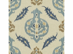 LEE JOFA KAILAR LINEN EMBROIDERED FABRIC BLUE INDIGO