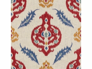 LEE JOFA KAILAR LINEN EMBROIDERED FABRIC PAPRIKA BLUE