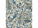 LEE JOFA KENLYN PEACOCK LINEN FABRIC BLUE TAN