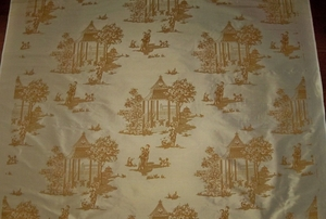 LEE JOFA KRAVET CHINOISERIE PAGODAS PRINTED SILK FABRIC 10.5 YARDS IRIDESCENT GOLD