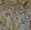 LEE JOFA KRAVET COLORFUL BIRDS TREES LINEN FABRIC BERRY MAUVE CREAM