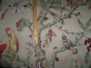 LEE JOFA KRAVET COLORFUL BIRDS TREES LINEN FABRIC INDIGO BLUE BEIGE