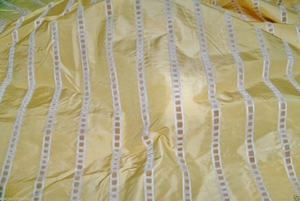 LEE JOFA KRAVET COUTURE SOLIEL SILK TAFFETA VELVET STRIPE FABRIC 3 YARDS YELLOW