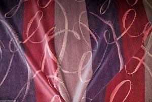 LEE JOFA KRAVET CURLY CUES STRIPES VELVET FABRIC 8.5 YARDS PLUM