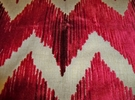 LEE JOFA KRAVET CUT VELVET CHEVRON FLAME STITCH ZIG ZAG FABRIC RED