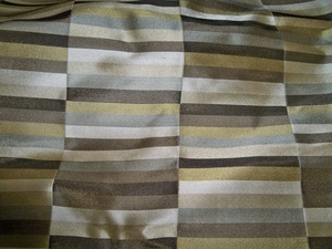 LEE JOFA KRAVET DECO GEOMETRIC RECTANGLES SILK DAMASK FABRIC BROWNS