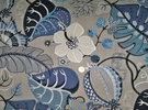 LEE JOFA KRAVET EMBROIDERED APPLIQUE FOLIAGE LINEN FABRIC BLUE TAUPE