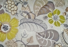 LEE JOFA KRAVET EMBROIDERED APPLIQUE FOLIAGE LINEN FABRIC GRAY GREEN