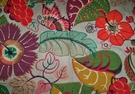 LEE JOFA KRAVET EMBROIDERED APPLIQUE FOLIAGE LINEN FABRIC PURPLE MULTI