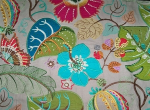 LEE JOFA KRAVET EMBROIDERED APPLIQUE FOLIAGE LINEN FABRIC TURQUOISE MULTI