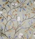 LEE JOFA KRAVET FLORAL EMBROIDERED SILK FABRIC AQUA BLUE OYSTER SLATE